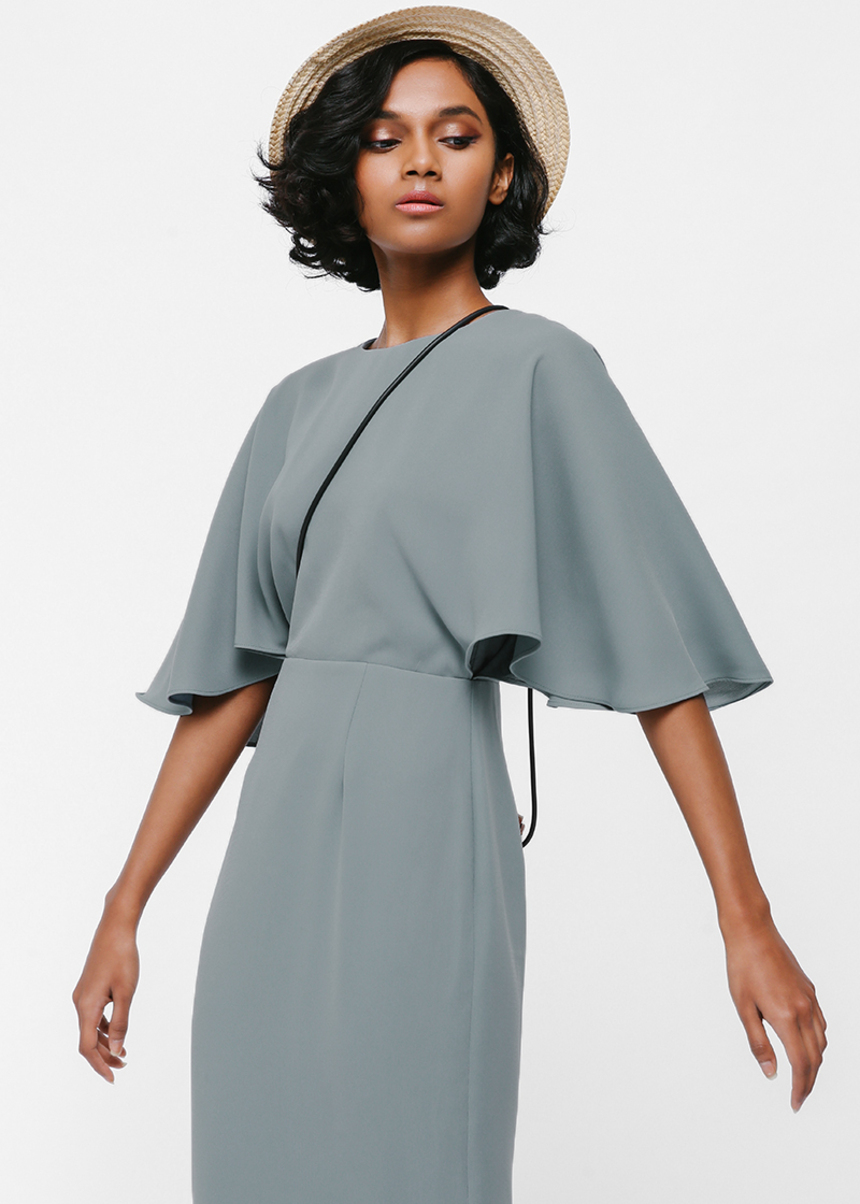 Merenia Cape Sleeve Midi Dress