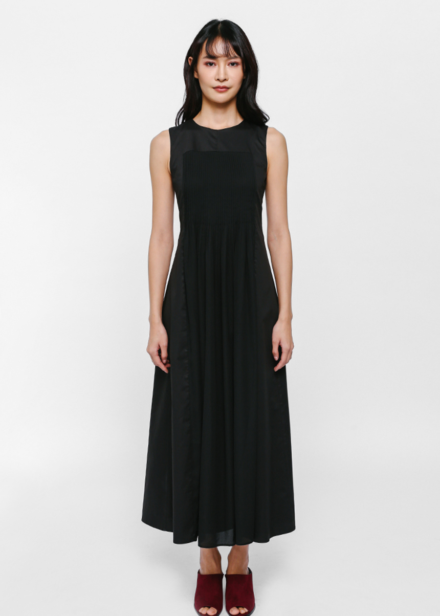 Atarah Pintuck Pleated Panel Maxi Dress
