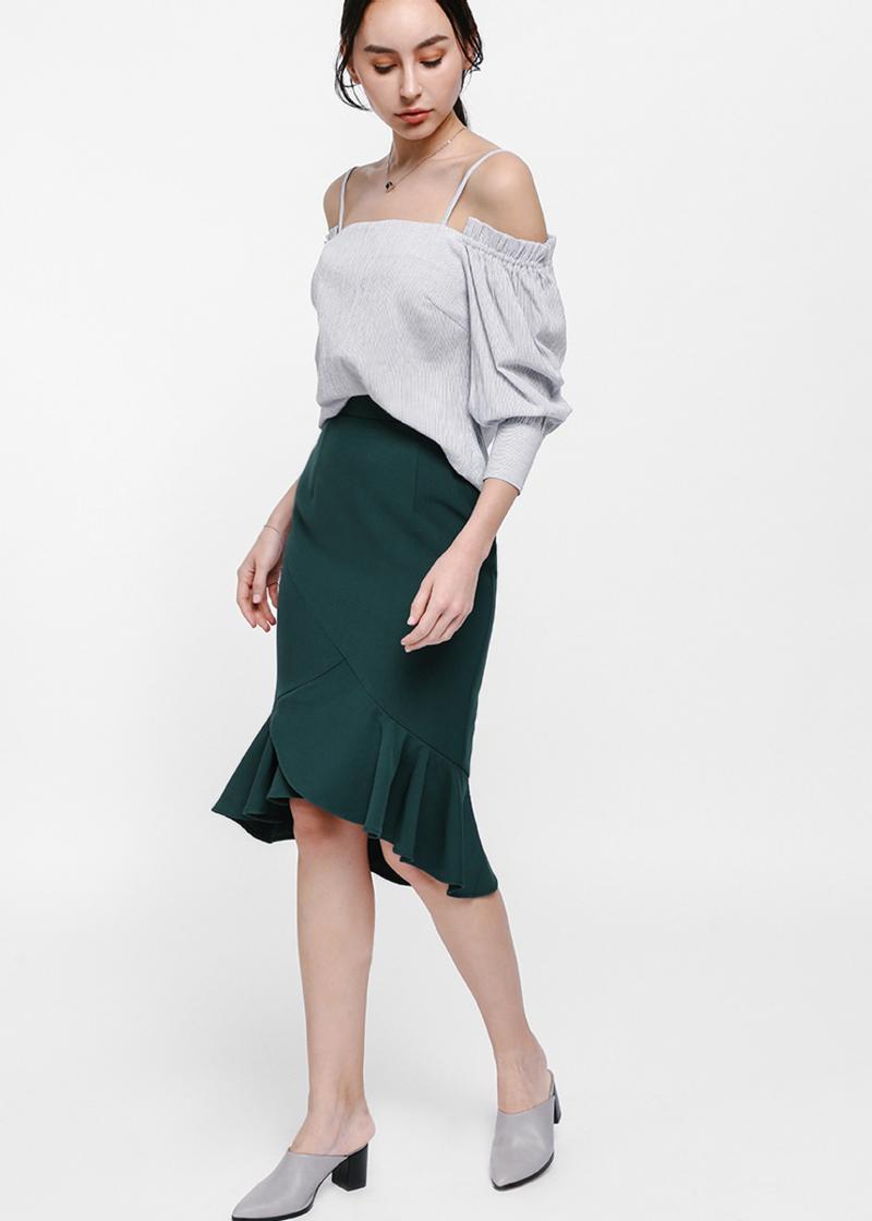 Osamund Asymmetrical Ruffle Hem Skirt