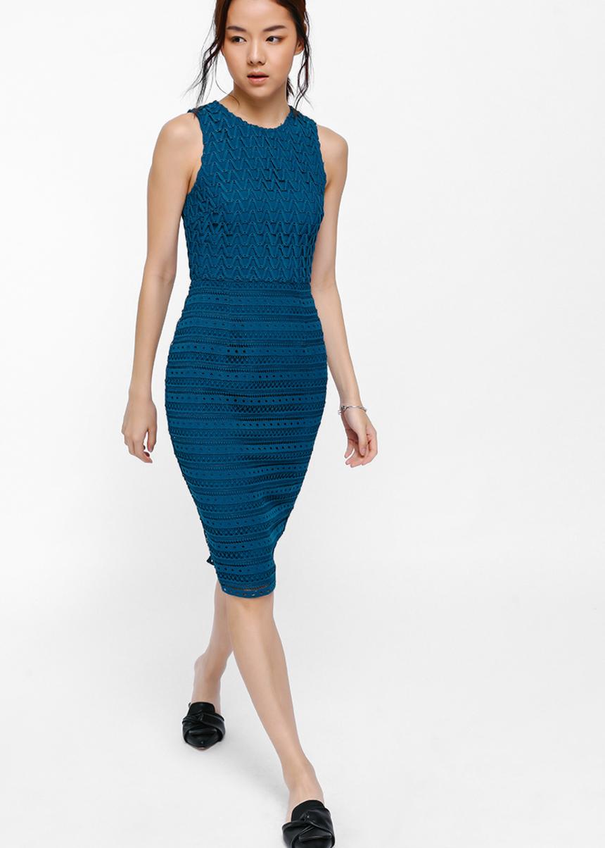 Dolyne Crochet Lace Overlay Dress
