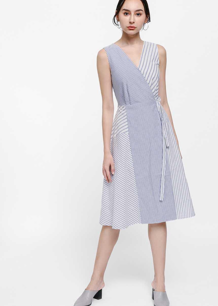 Kaydrina Striped Crossover Sash Dress