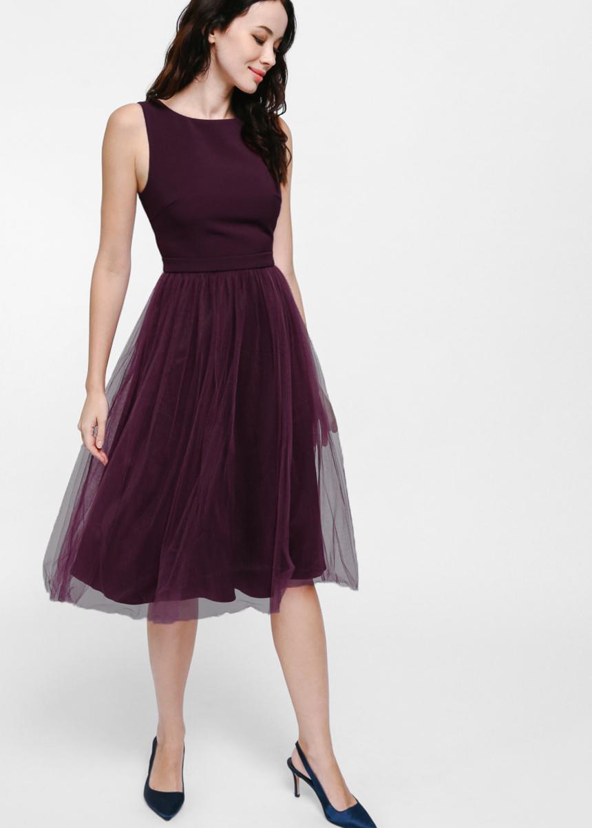 Medina Mesh Tulle Midi Dress