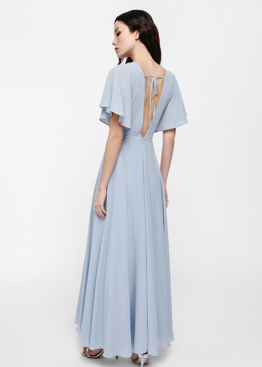 Feldrine V-back Flutter Sleeve Maxi Dress