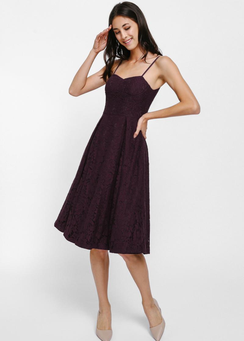 Laurae Lace Bustier Midi Dress