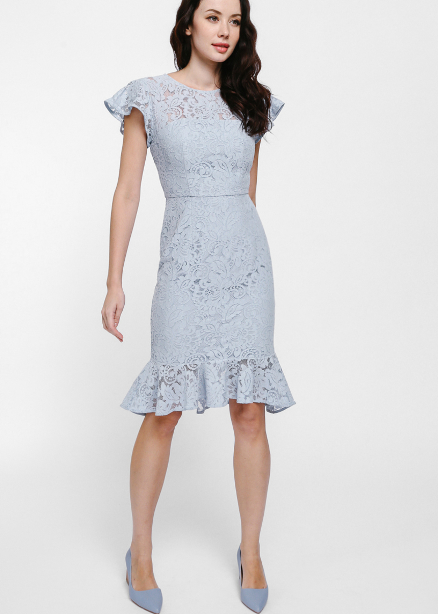 Rayne Ruffle Hem Lace Midi Dress