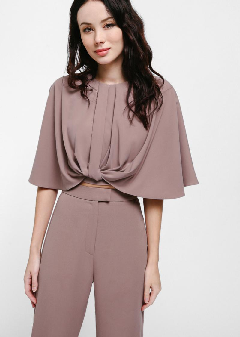 Keia Knotted Flutter Sleeve Crop Top