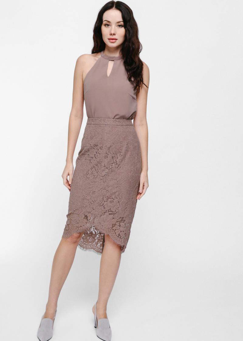Laran Asymmetrical Lace Pencil Skirt