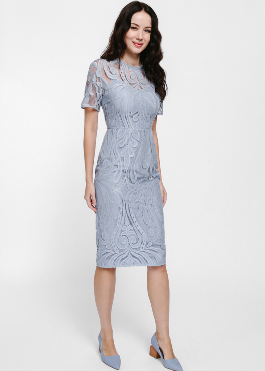 Maudine Lace Overlay Midi Dress