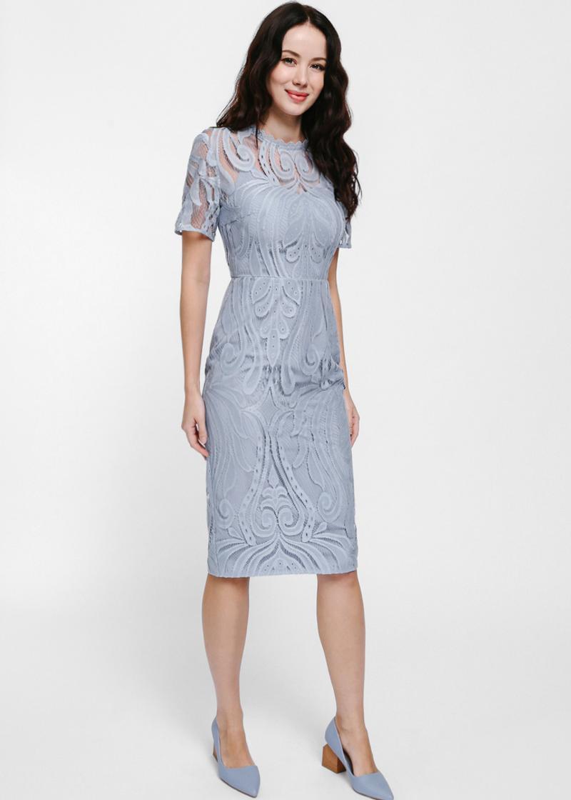 Maudine Lace Overlay Midi Dress