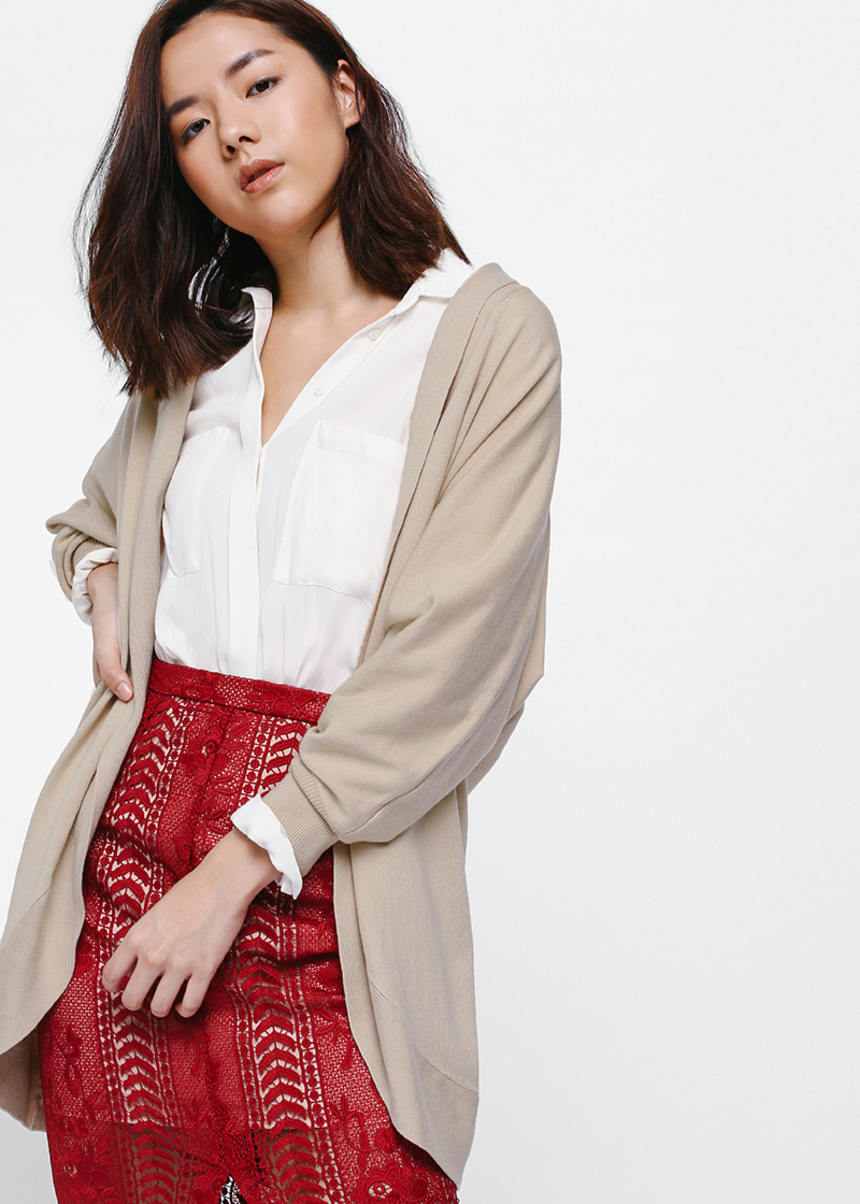 Mealia Open Front Knit Cardigan
