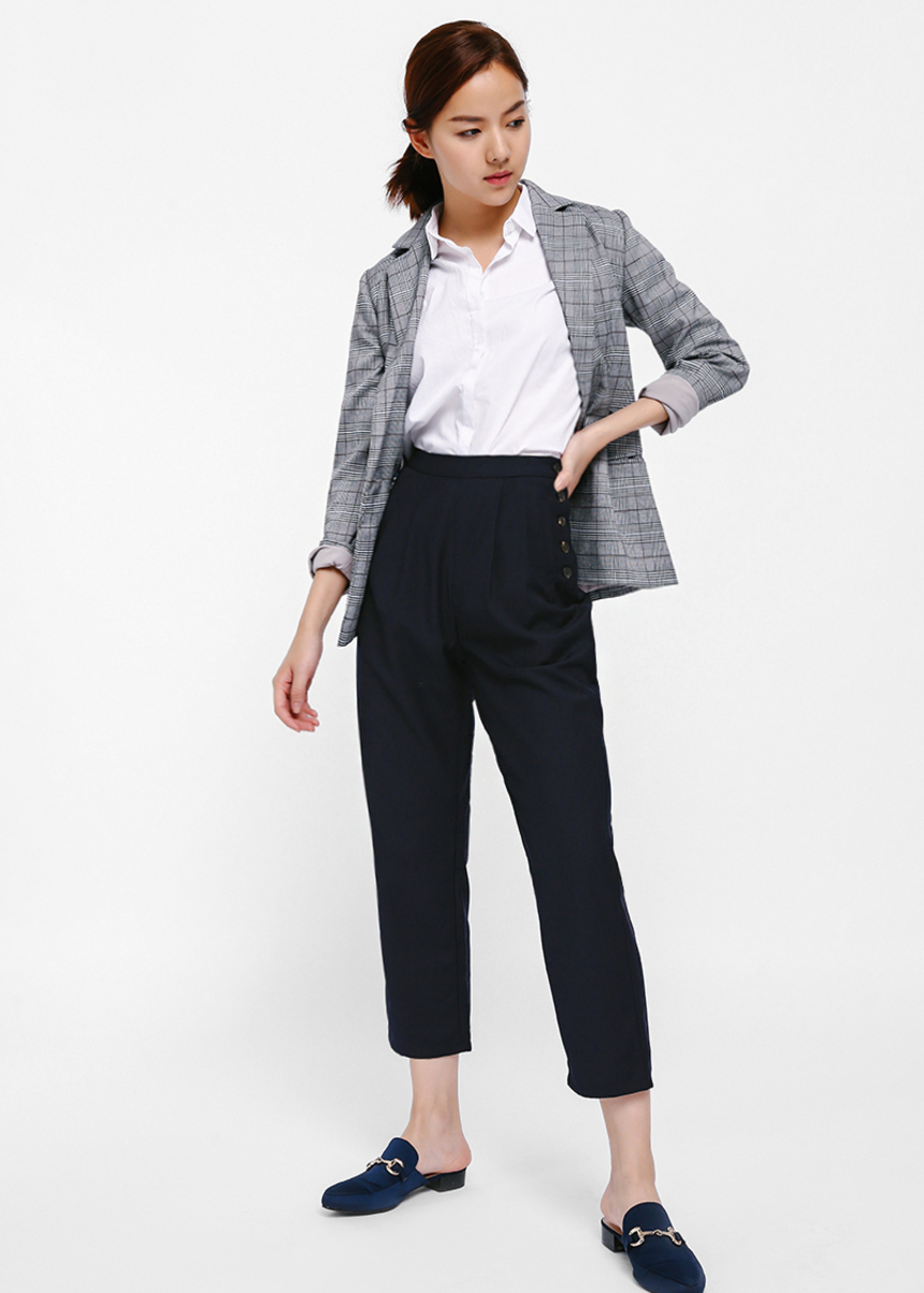 Sierrie Side Button Crop Pants