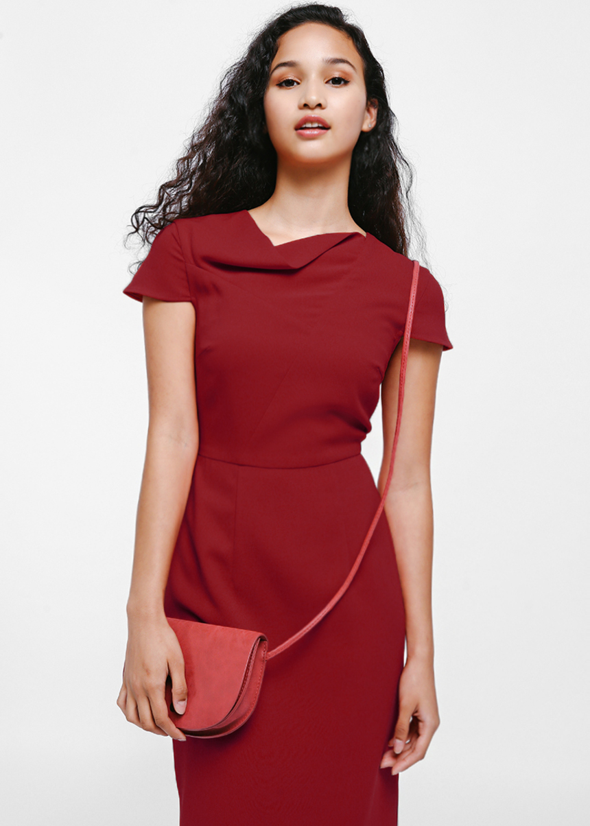 Nunegia Cowl Neck Midi Dress