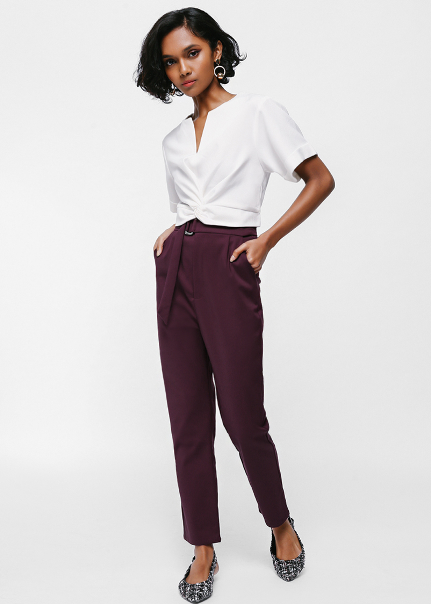 Pelaena Belted High Waist Pants