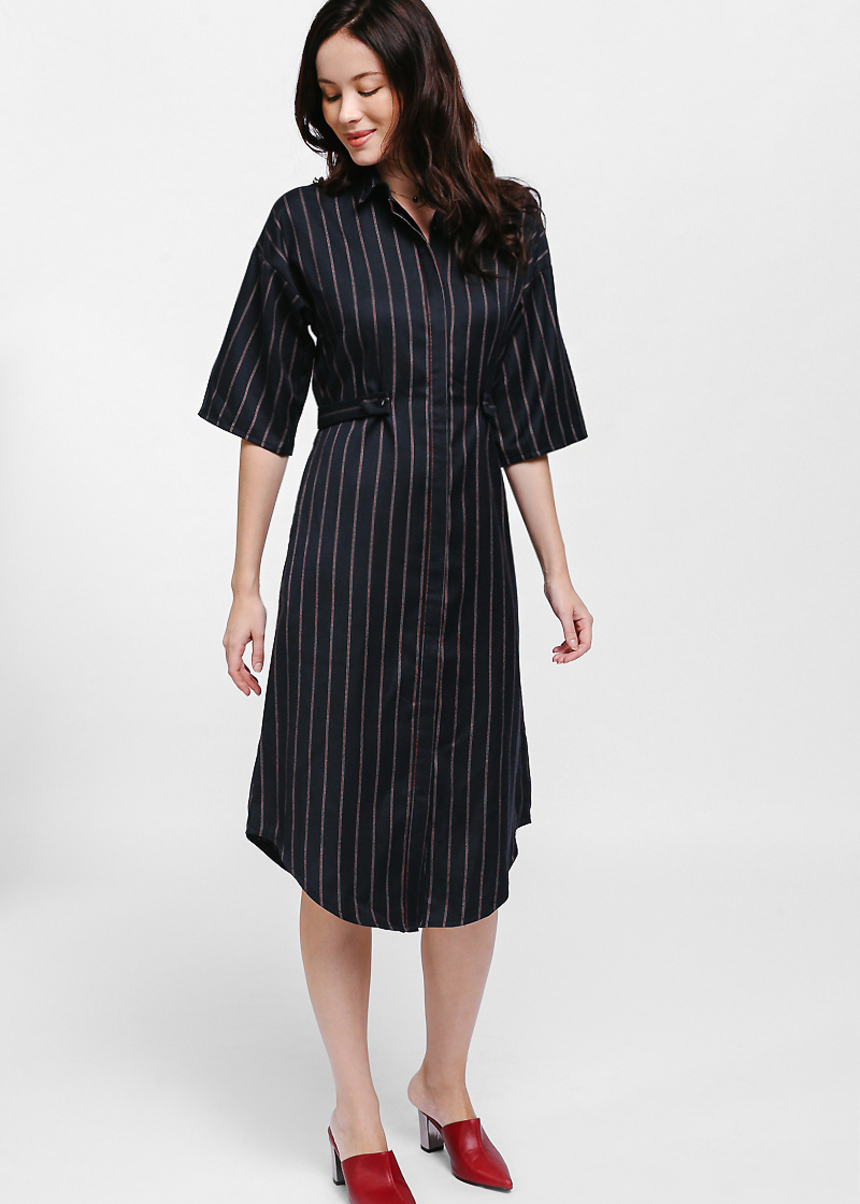 Delreqa Striped Tab Midi Shirt Dress