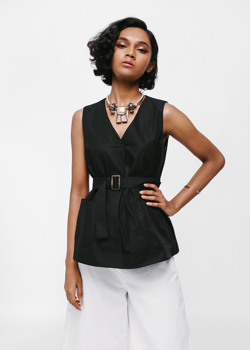 Salsha Belted Pocket Sash Top