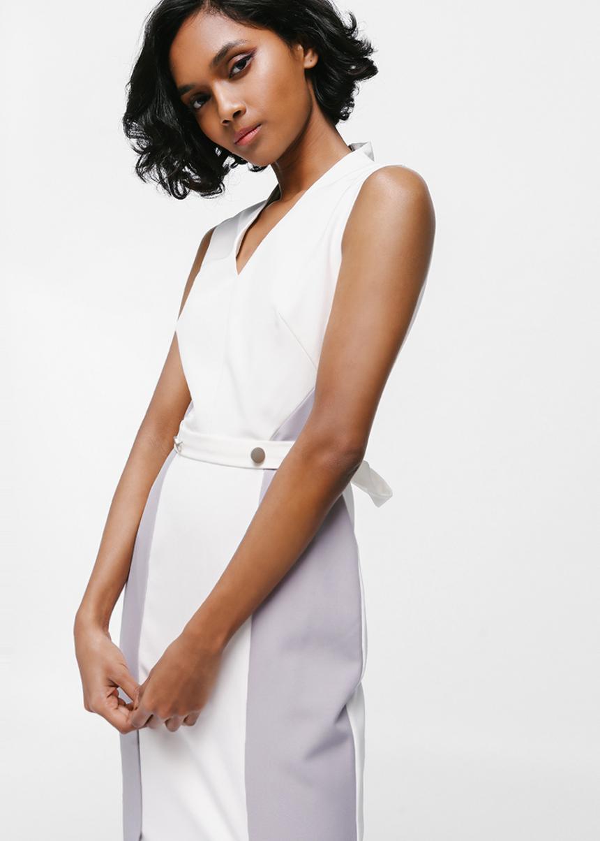 Dhanlyne Button Contrast Slit Midi Dress