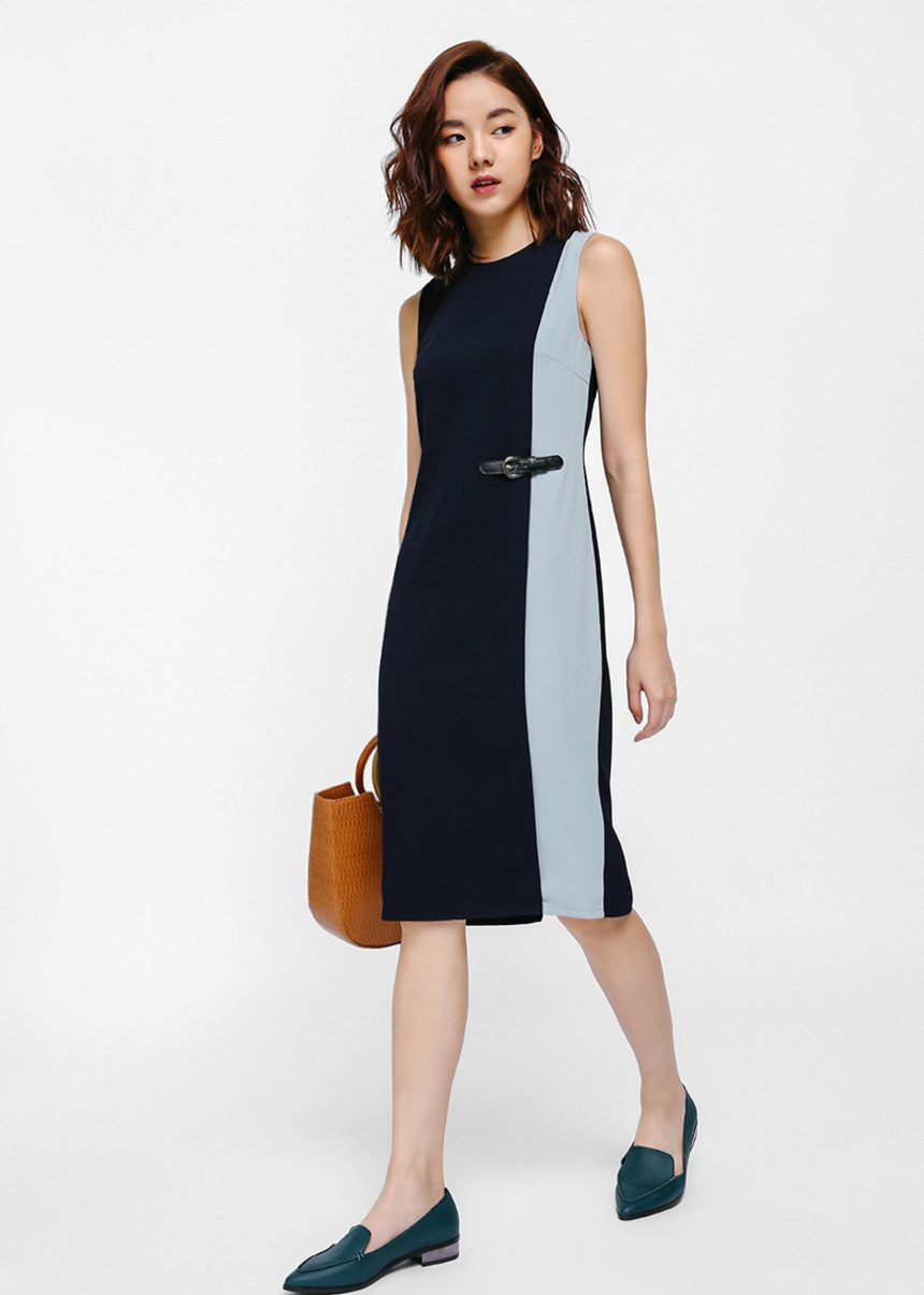 Darisionne Contrast Side Buckle Dress