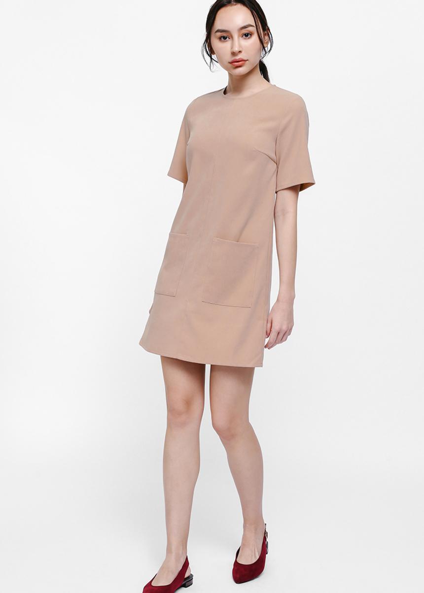 Beama Faux Suede Pocket Shift Dress
