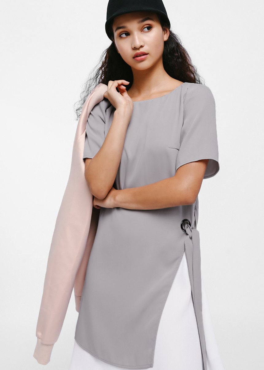 Shieshe Contrast Layered Side Sash Dress