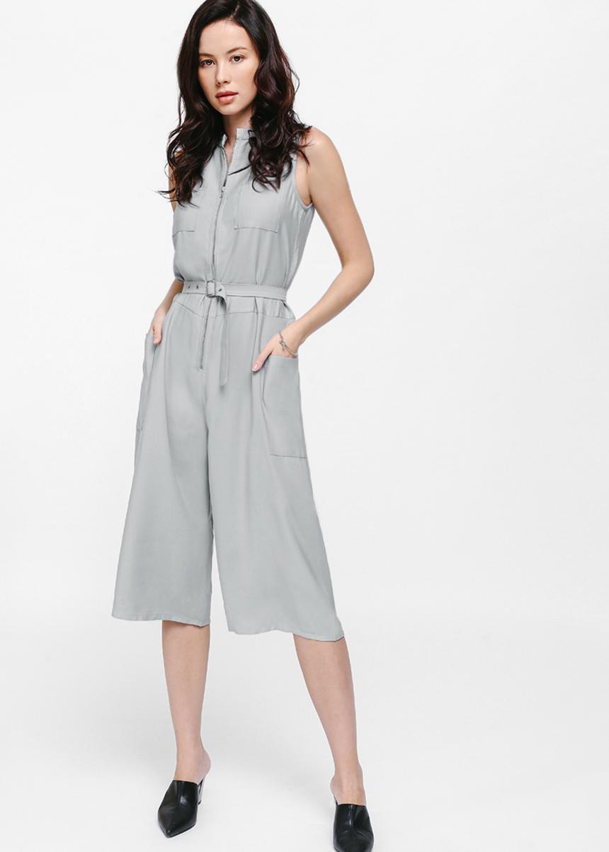 Jylila Belted Pocket Midi Jumpsuit