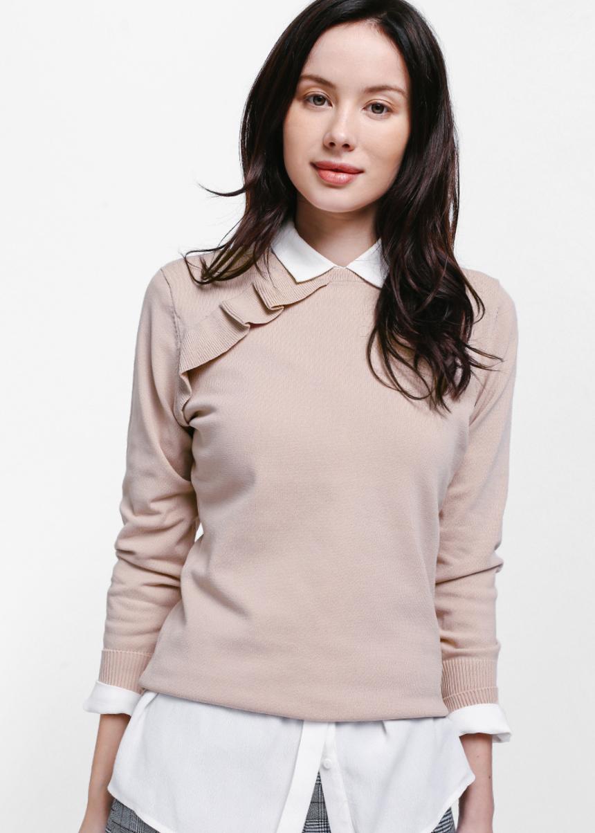 Tiarra Ruffle Shoulder Knit Top