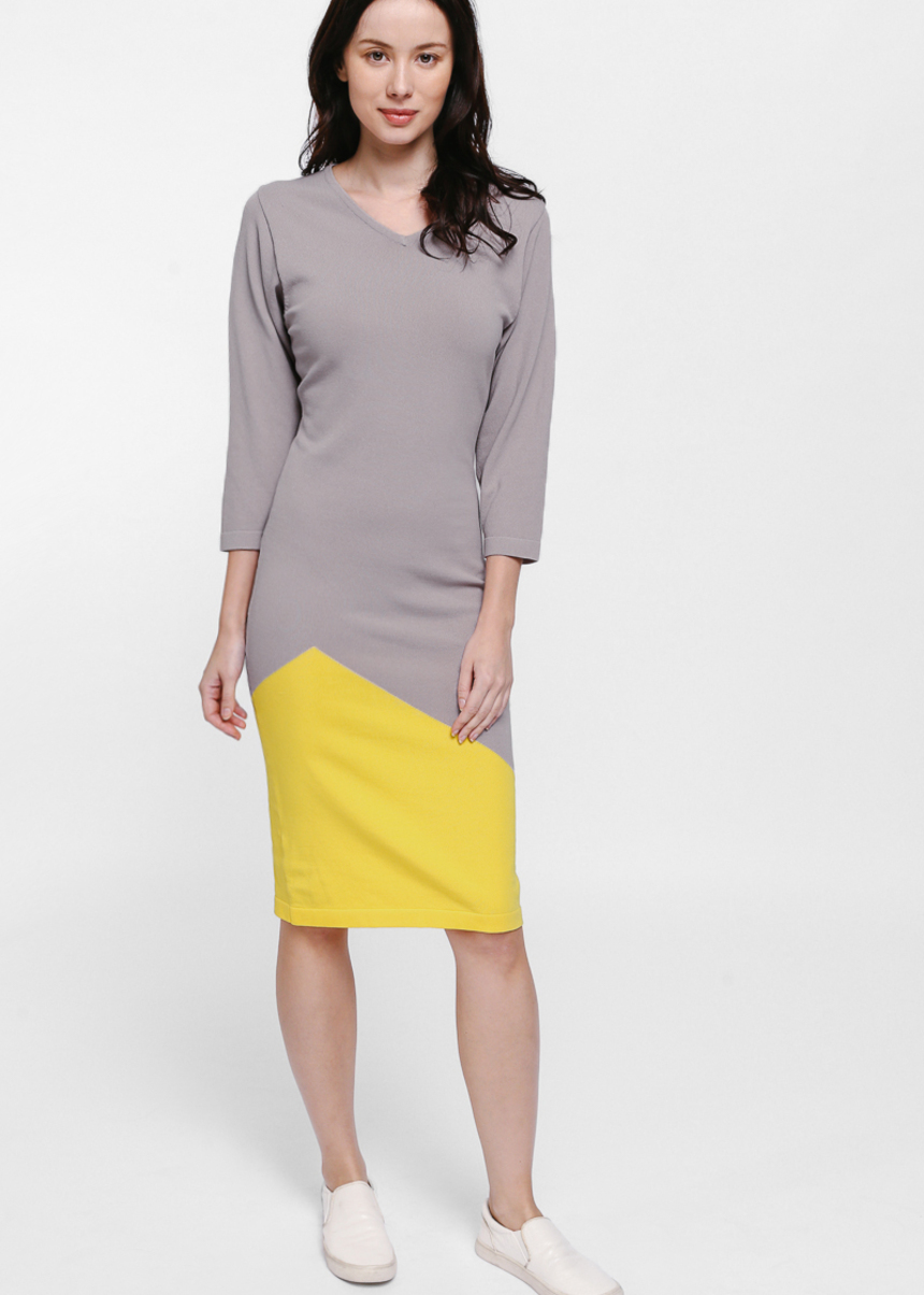 Fyolia Colourblock Midi Knit Dress