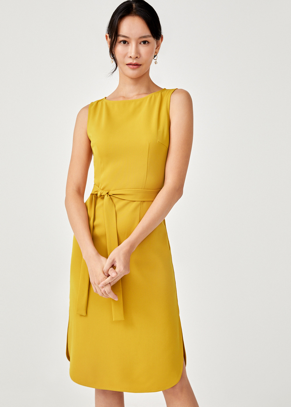 Sunia Sash Curved Hem Dress