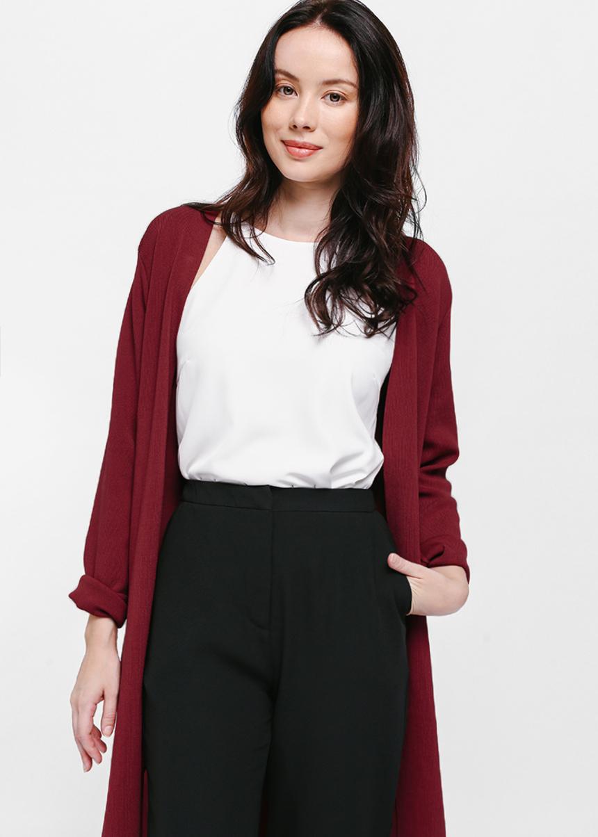 Xovra Sash Tie Longline Knit Cardigan