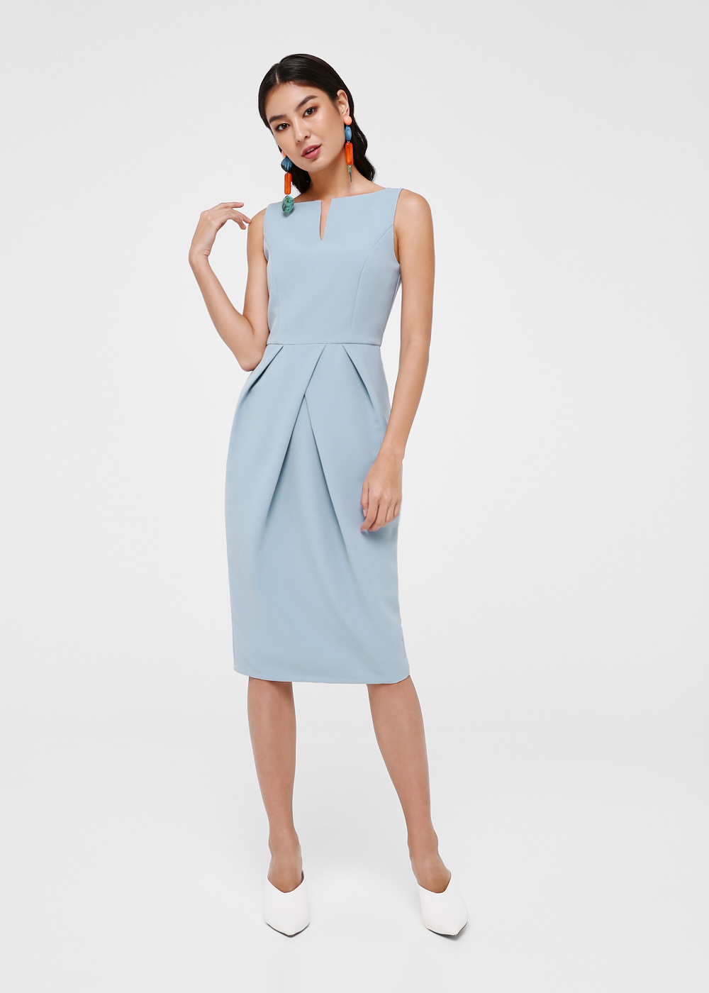 Paveka Pleated Tulip Midi Dress