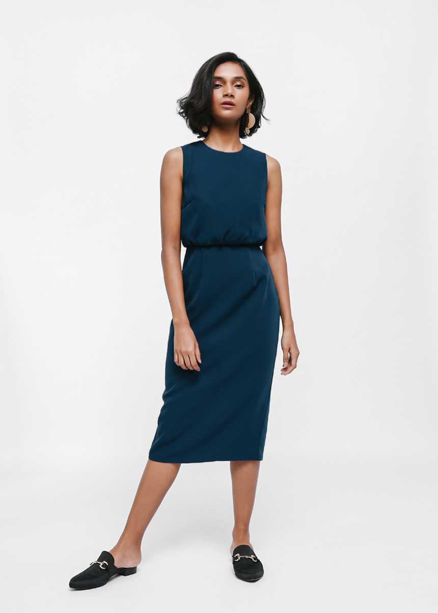 Raia Gathered Waist Column Midi Dress