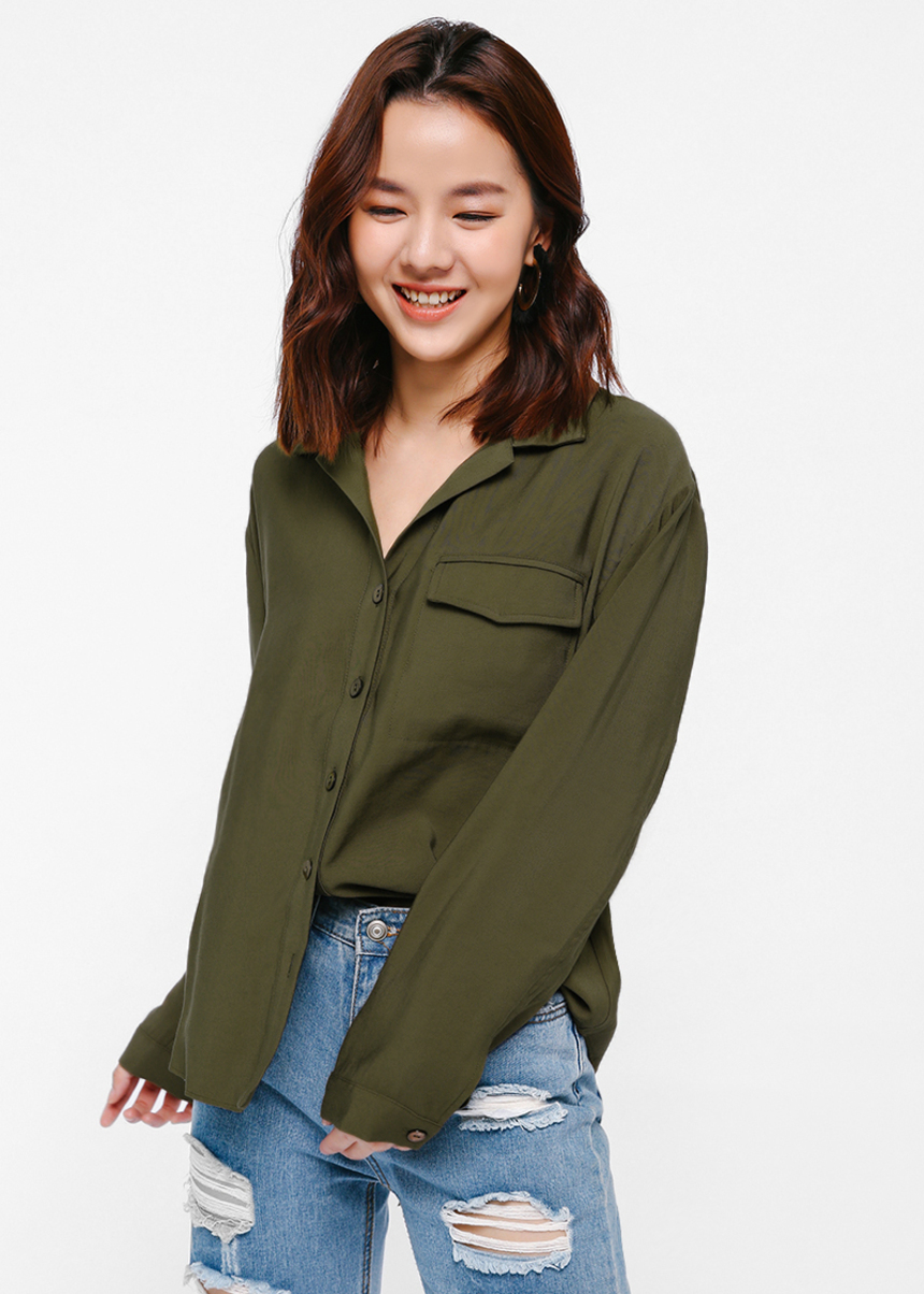 975b93c659 Ohellia Pocket Oversized Shirt