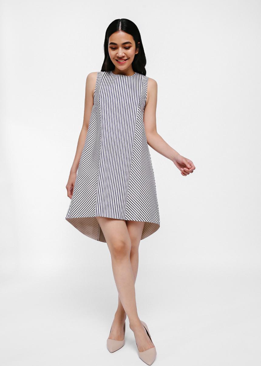 Shaye Asymmetrical Contrast Stripe Dress