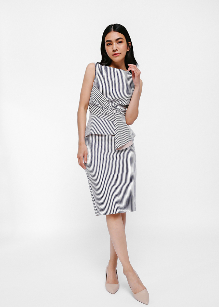 Qyle Twist Knot Peplum Stripe Midi Dress