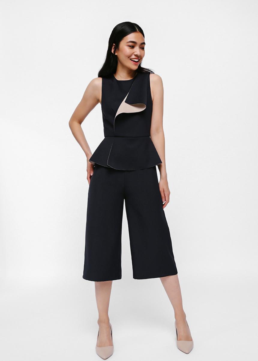 Loreia Contrast Layer Peplum Jumpsuit