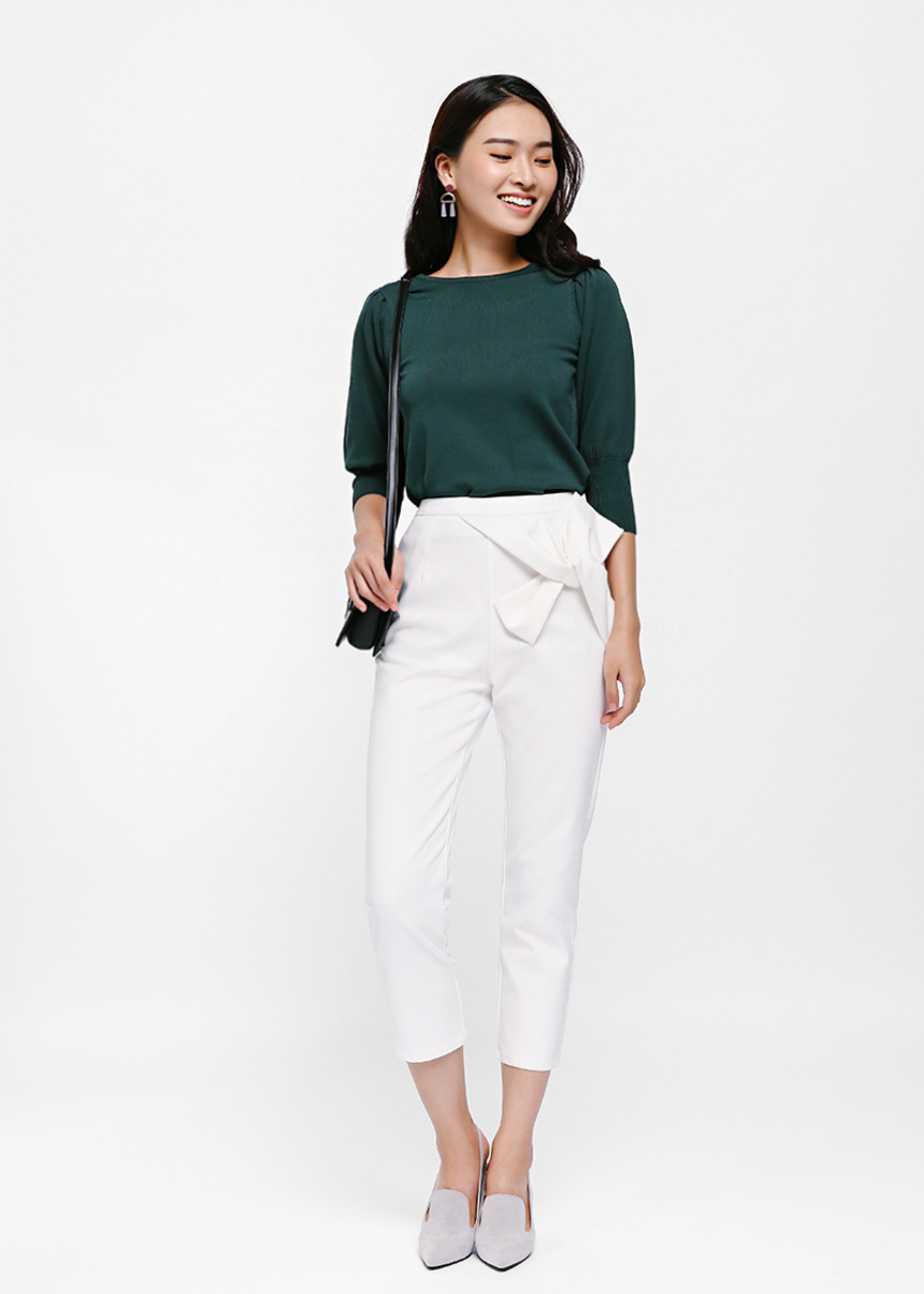 Cristo Bow Detail Cropped Pants