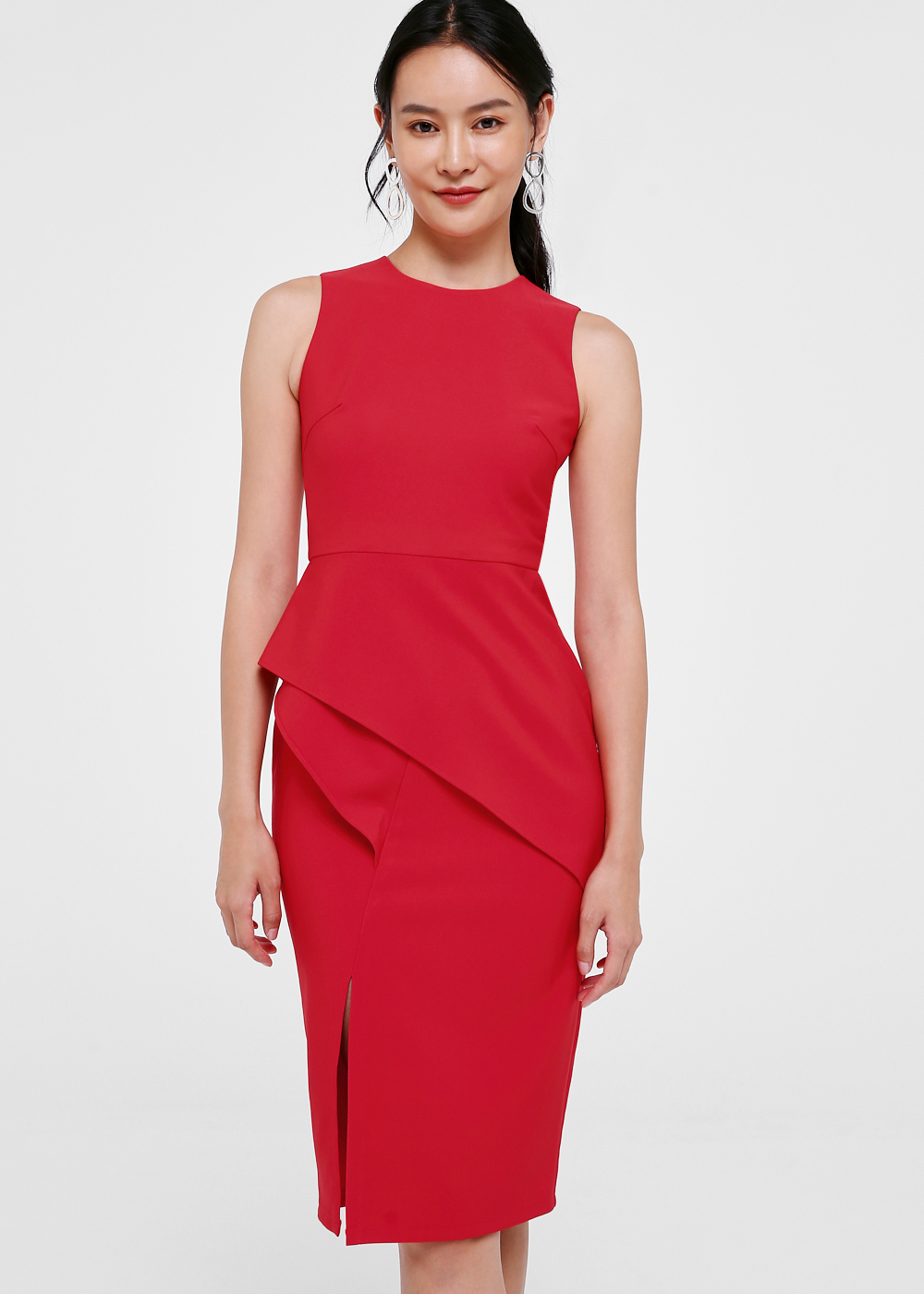 Fleqeen Cascade Peplum Midi Dress