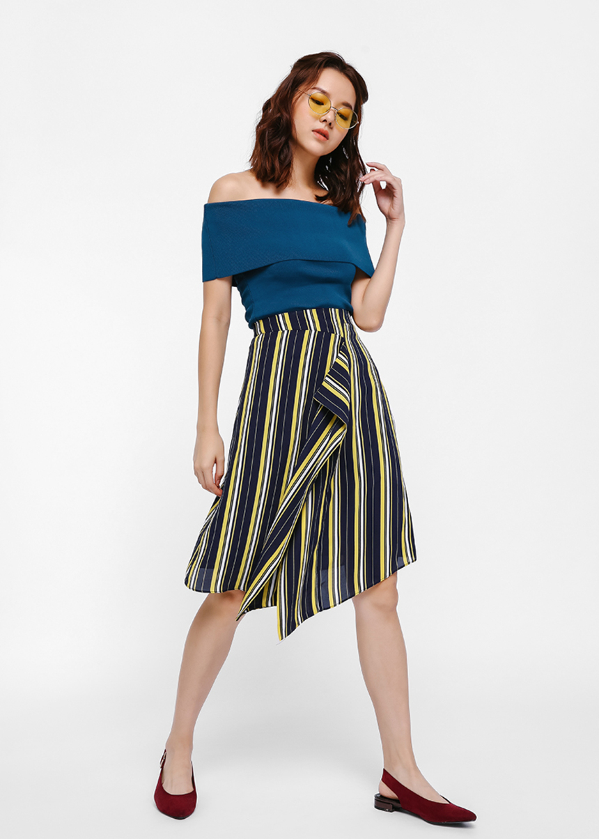 Lavelin Asymmetrical Faux Wrap Skirt