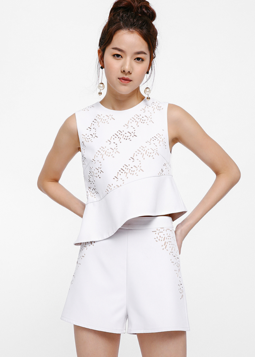 Quince Laser-cut Asymmetrical Hem Top