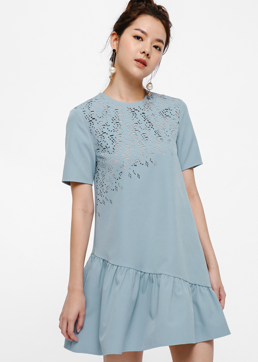 Artemis Laser-cut Asymmetrical Ruffle Hem Dress