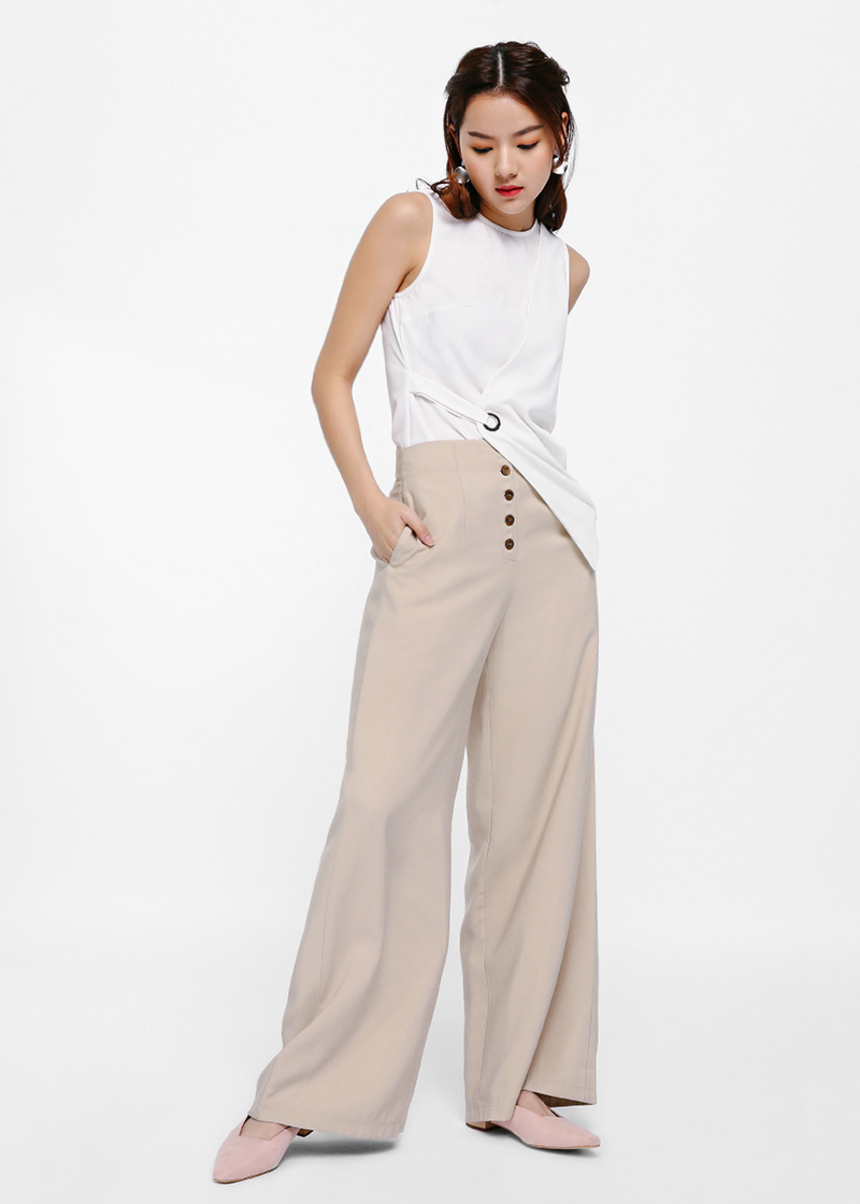 Liss Button Front Palazzo Pants