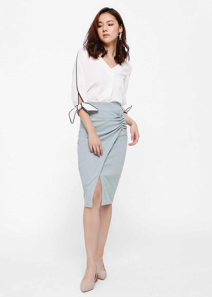 Aquinas Ruch Detail Pencil Skirt