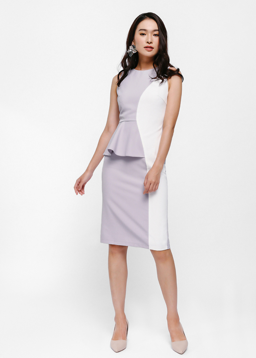 Sinead Contrast Peplum Dress