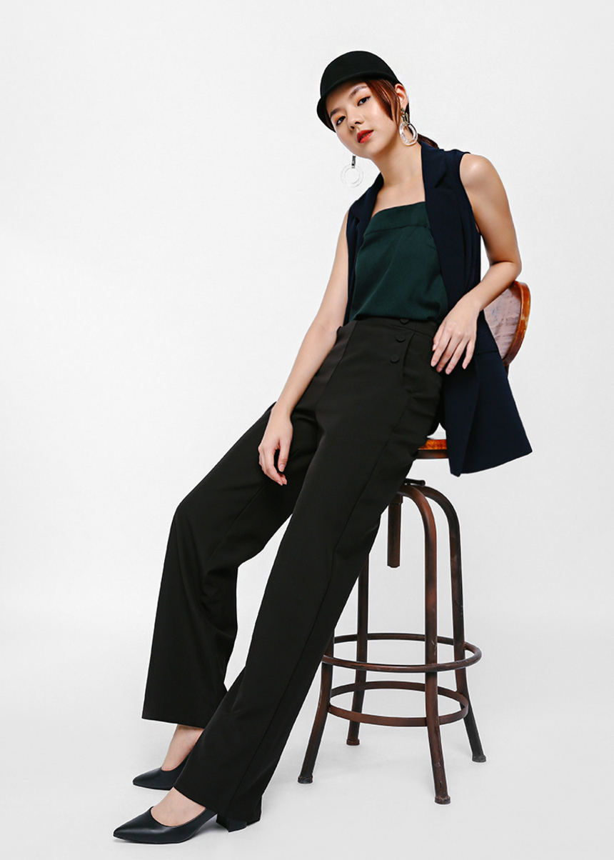 Palova High Waist Button Detail Pants