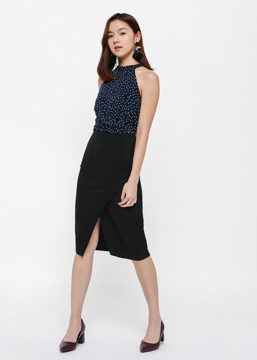 Tress Asymmetrical Panel Pencil Skirt