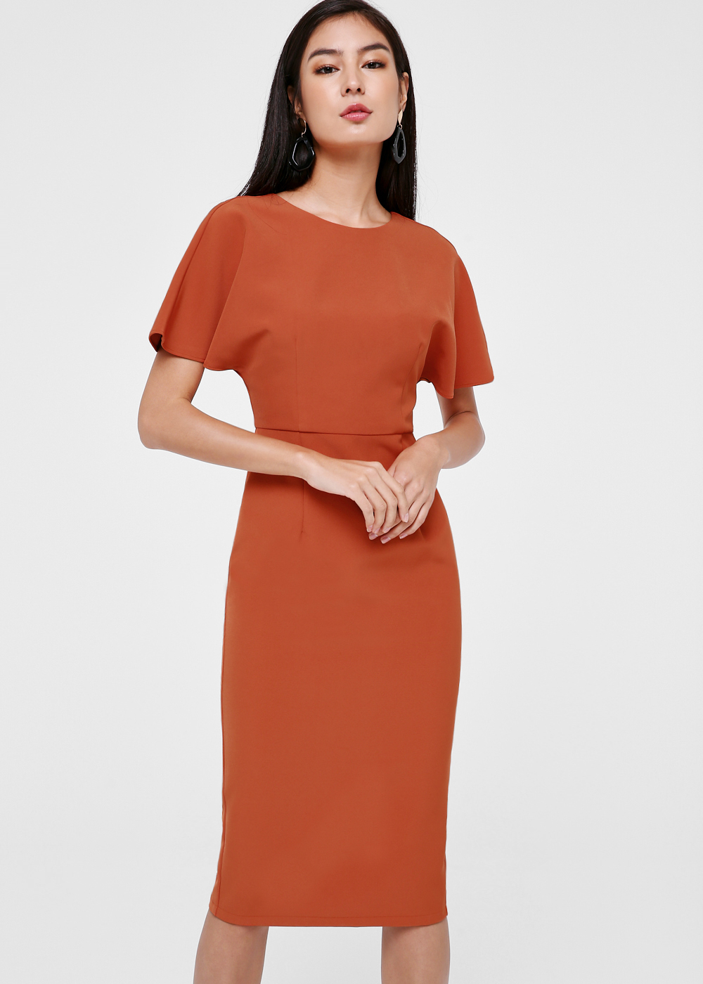 Thoren Flutter Sleeve Pencil Dress