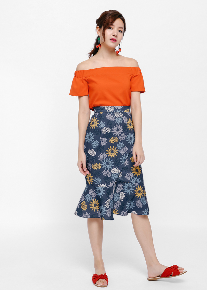 Mirika Printed Trumpet Skirt