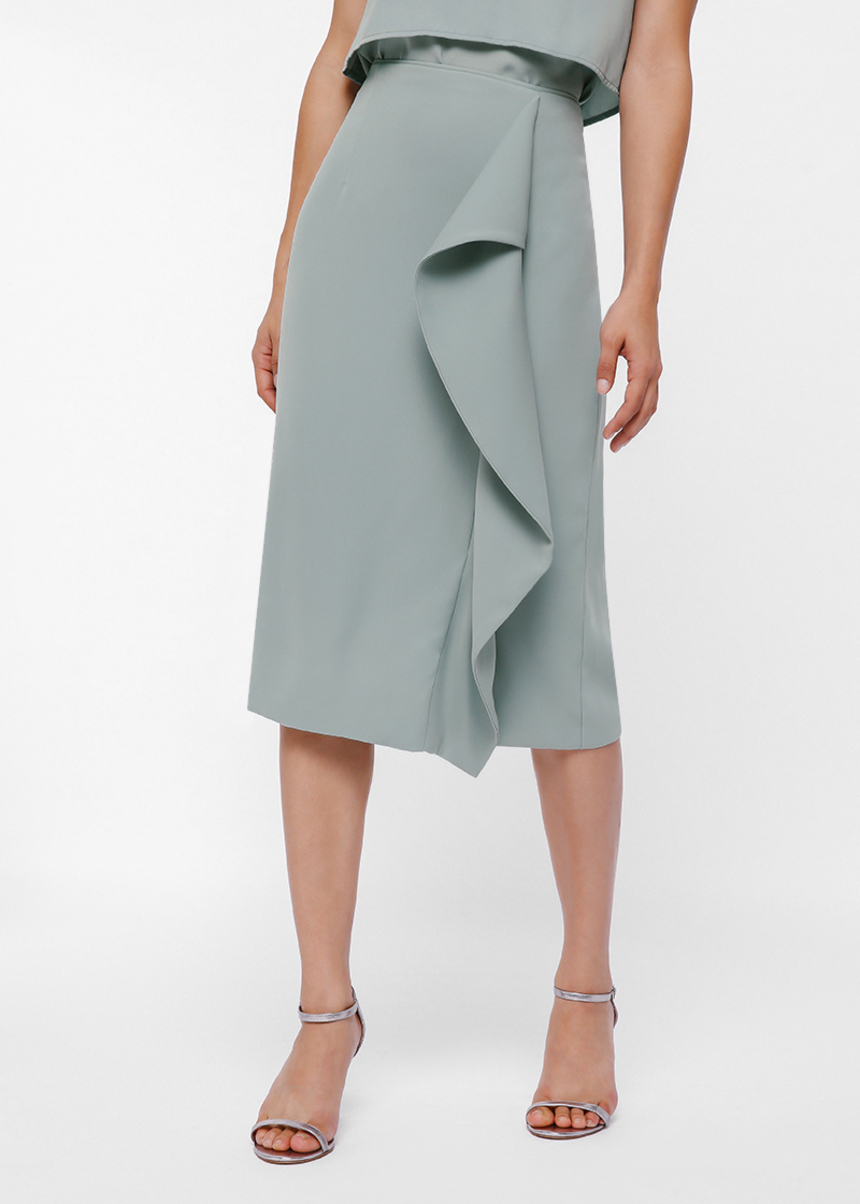 Cestia Foldover Ruffle Pencil Skirt
