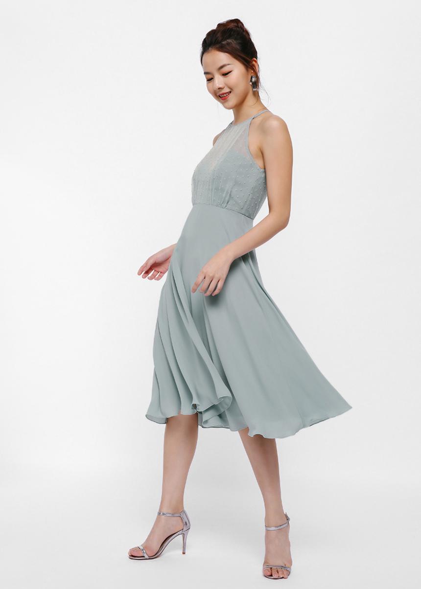 Milika Dobby Dot Halter Midi Dress