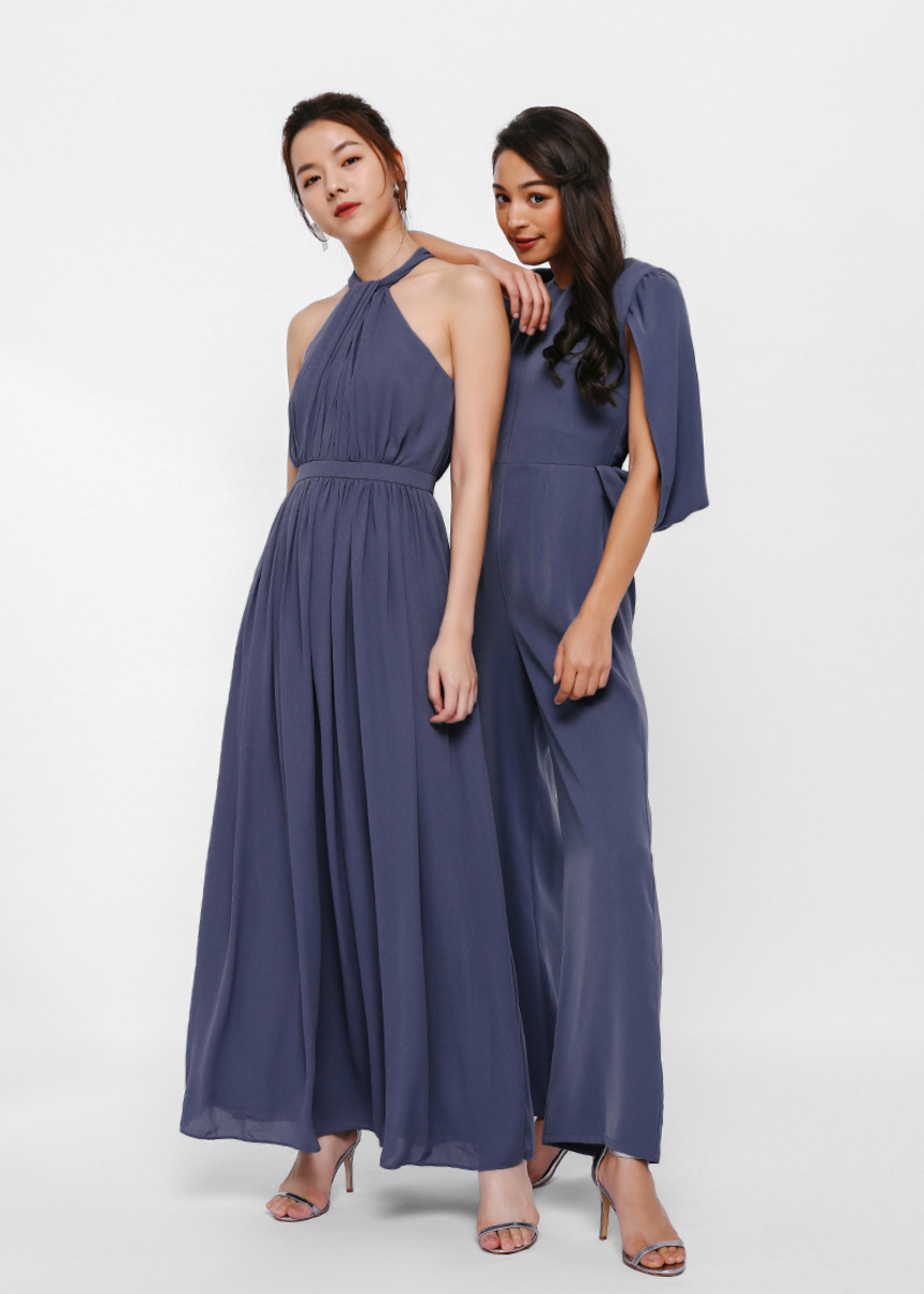 Gertrude Halter Knot Neck Maxi Dress