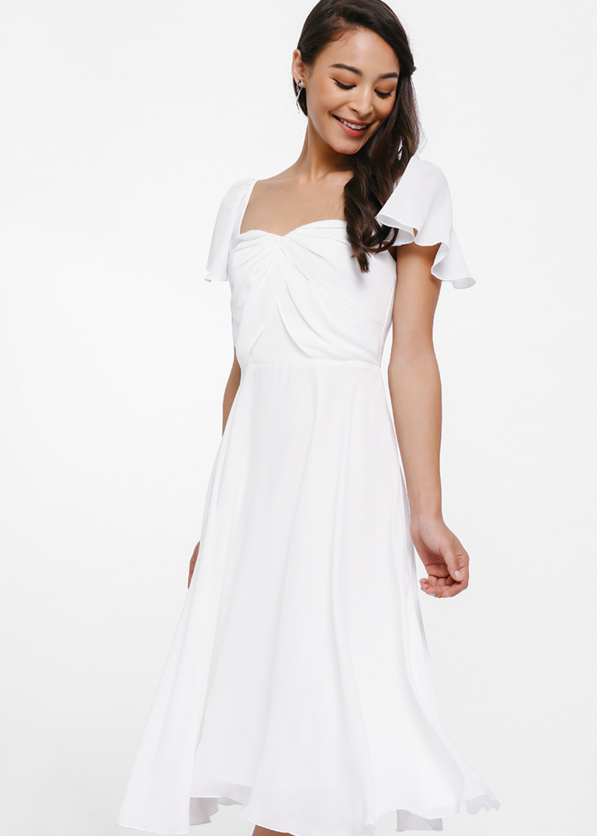 Yeren Ruch Bodice Flutter Sleeve Dress